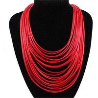 Mode chaude femmes multicolore collier multicouche corde bohême déclaration bijoux Long collier pour les femmes 3L5002