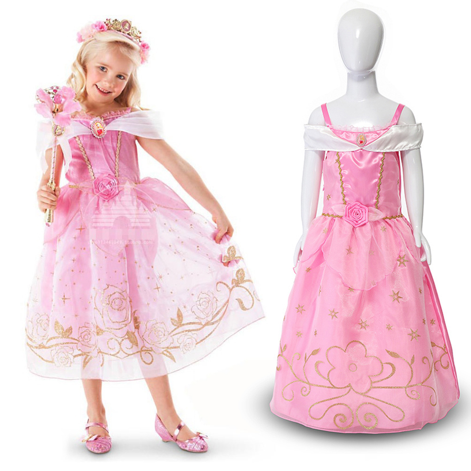 Princess Dress for Girls Kids Party Cinderella Rapunzel Belle Aurora Cosplay Costume Child Halloween Birthday Fancy Summer Dress in Dresses from Mother Kids