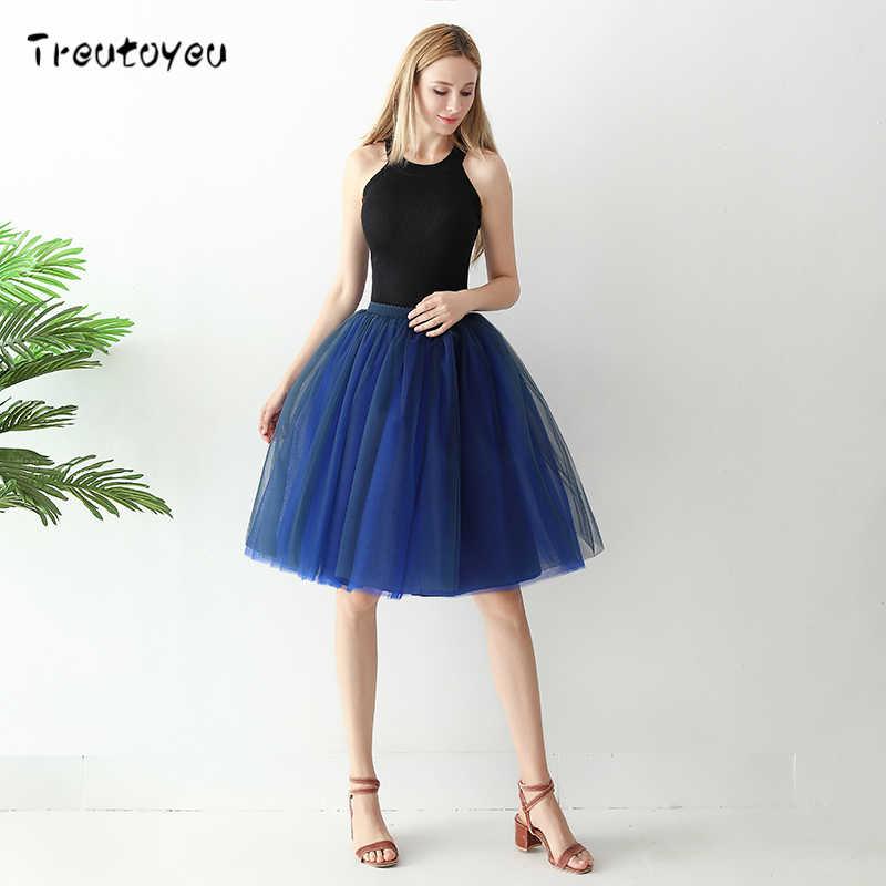 8883b2cf7 Treutoyeu 6 Layers Midi Tulle Skirts Womens Fashion TUTU Skirt Mesh  Bridesmaid Wedding Lolita Petticoat Faldas