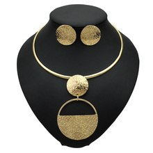 MANILAI Punk Gold-Color Geometric Metal Fashion Jewelry Sets For Women Choker Necklaces Earrings Set Statement Collier bijoux