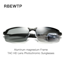 RBEWTP Aluminum magnesium Frame HD Lens Photochromic Polarized Sunglasses Men Driving Day and Night Vision Goggles Sun Glasses