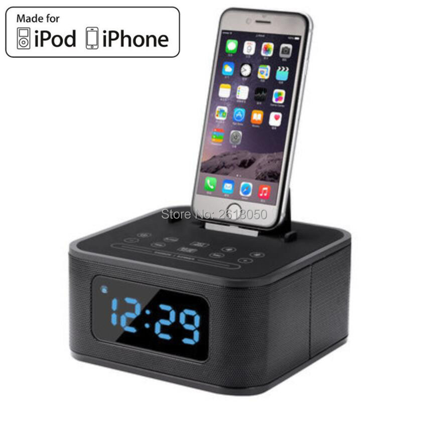 Charging Alarm Speaker Dual Stereo FM Clock Radio with Lightning Dock Station For iPod iPhone 4 4s5 5C 5S 6 6s 6Plus 7 7plus