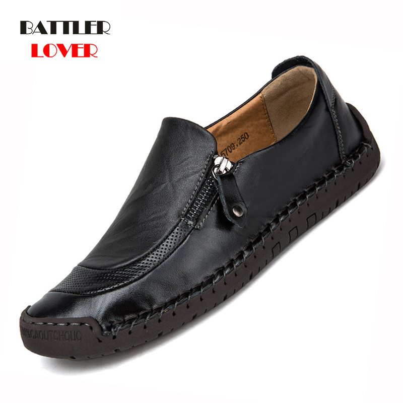 Men Shoes Casual Genuine Leather Mens Loafers Moccasins Handmade Slip On Boat Shoes Hombre Classical Chaussure Homme Size 38-48