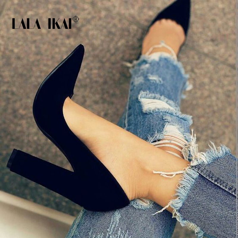 LALA IKAI Women Faux Sandals Suede Solid Colors Pump Basic Sandals Slip On High Heels Shallow Femme Fashion Shoes 014C1237 -4