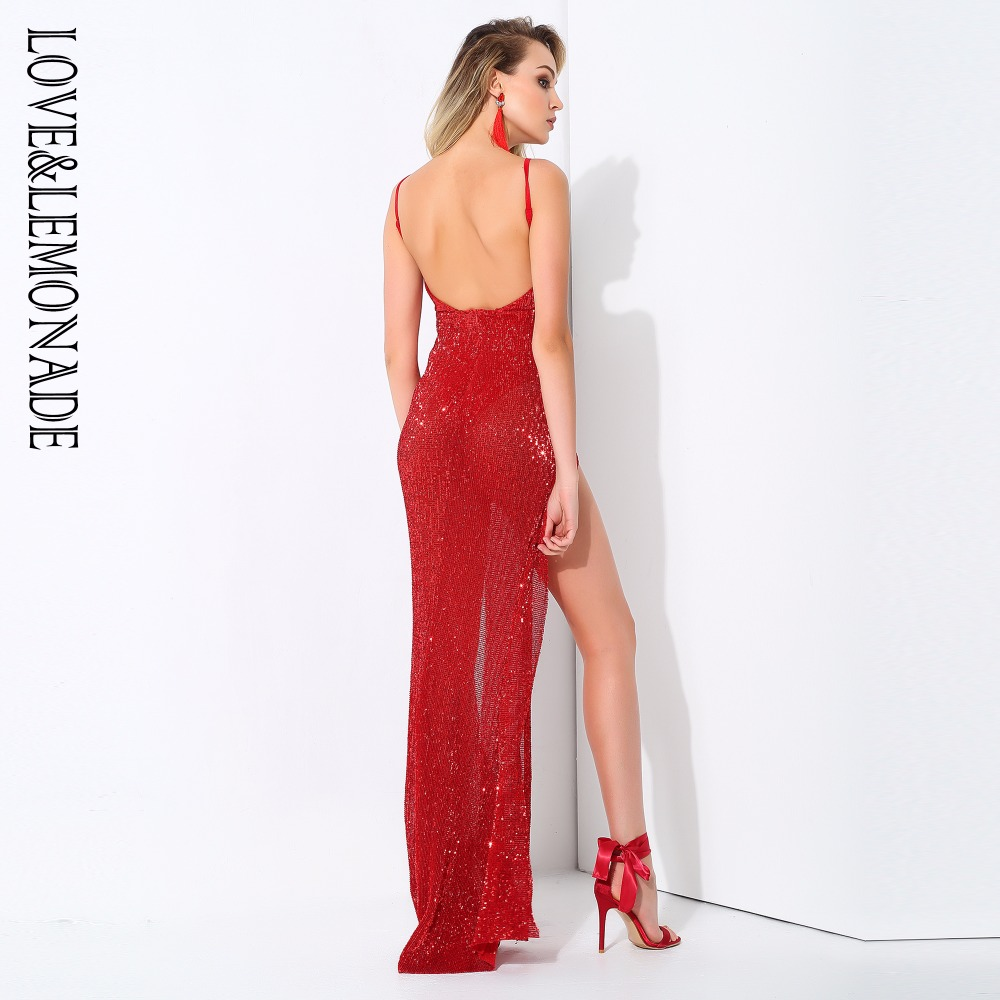 Love Lemonade Red Cut Out Deep V Neck Open Back Elastic Sequins Long Dress  LM0758-in Dresses from Women s Clothing on Aliexpress.com  4dad29c26