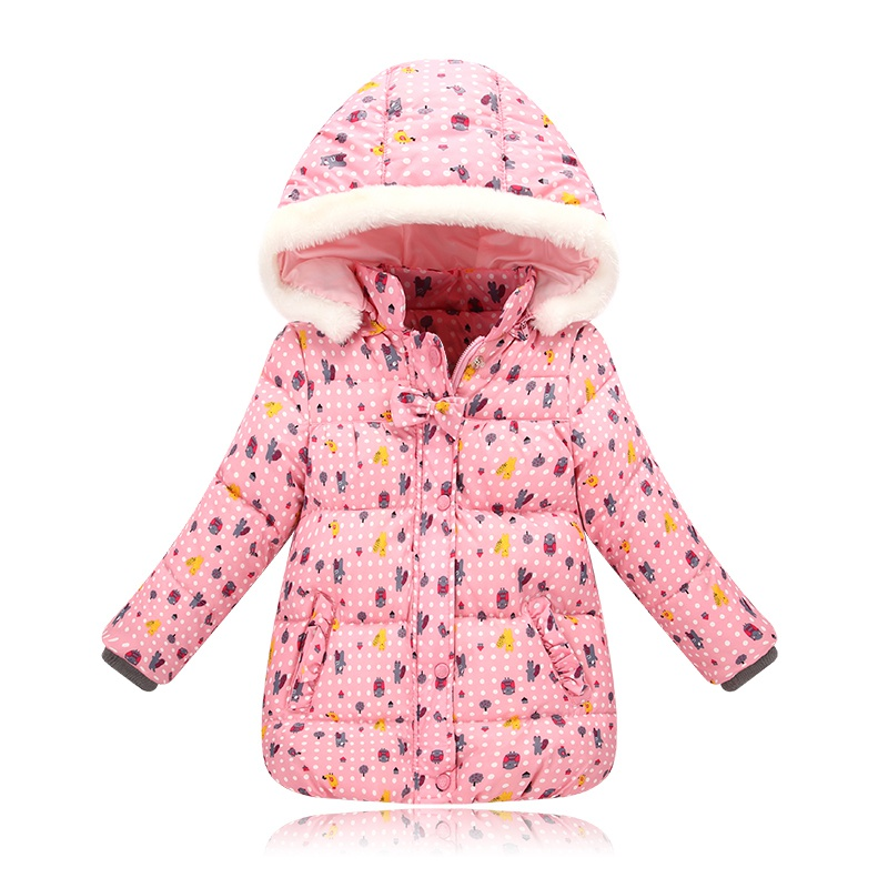 2017 New Winter Thick Cotton Outwear Fashion Children Girls Cute Print Stripe Kids Autumn Windbreaker Jackets
