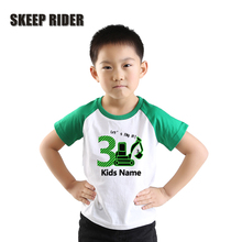 Yellow T Shirt For Children Cotton Toddler Boy Tops Rib Neck Birthday Number Tshirt Letter Printing Girl Digger