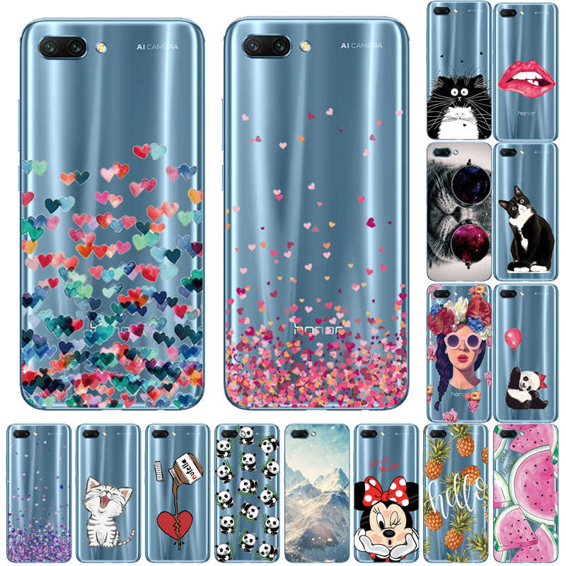Phone Cases For Honor 10 Case For Honor 10 Lite Case Silicone Transparent Cat Lion tiger fruit Case For Huawei Honor 10 Lite