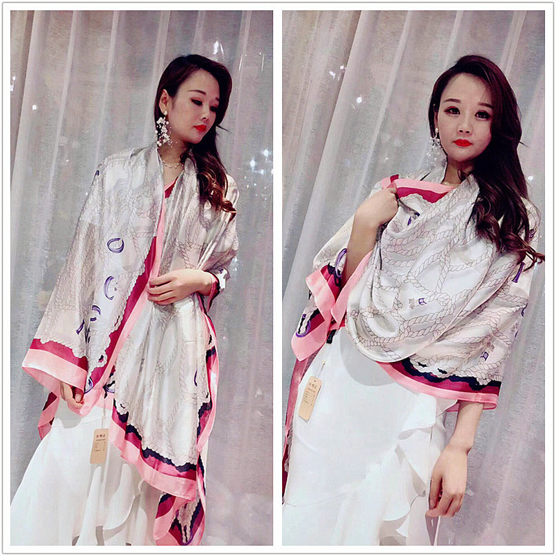 Autumn scarf new small fresh chain printing shawl travel must be a new silk satin scarf girl