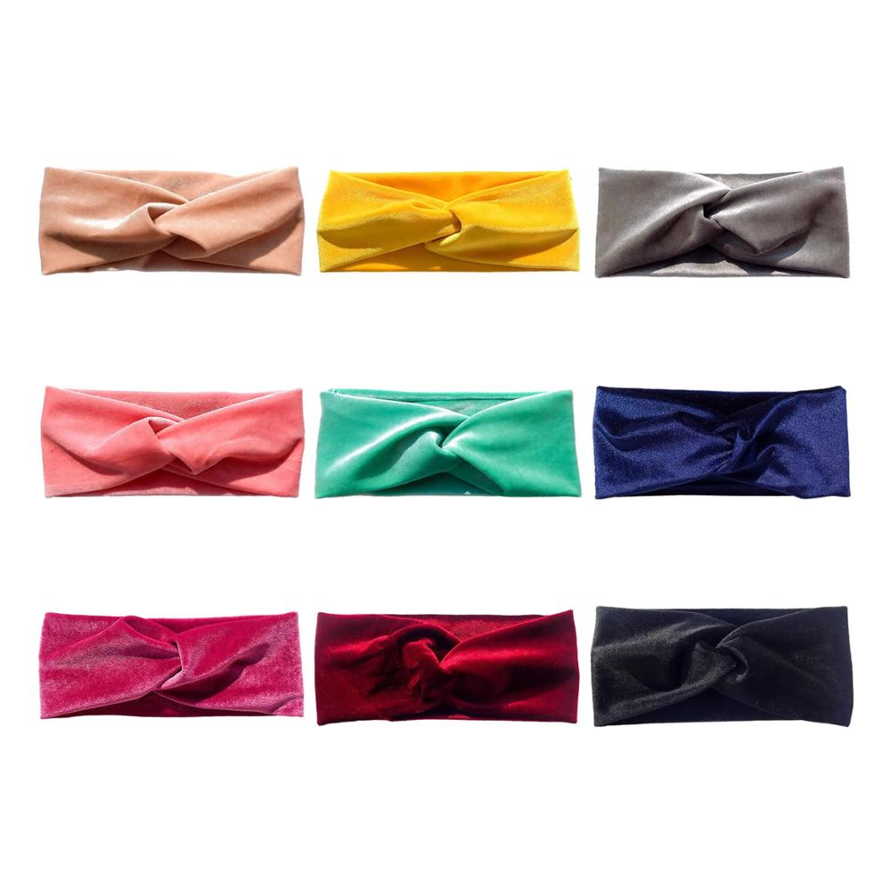 9 PACK Velvet Elastic Stretchy Wide Cross Headbands Hairband Bows Turban Wraps Holder Accessories for Kids Infant Baby Girl Bulk in Hair Accessories from Mother Kids
