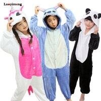 Дети животных кигуруми пижамы для детей Kigurumi детские слиперы панда Единорог Хэллоуин комбинезоны для девочек и мальчиков Пижама комбинезо...
