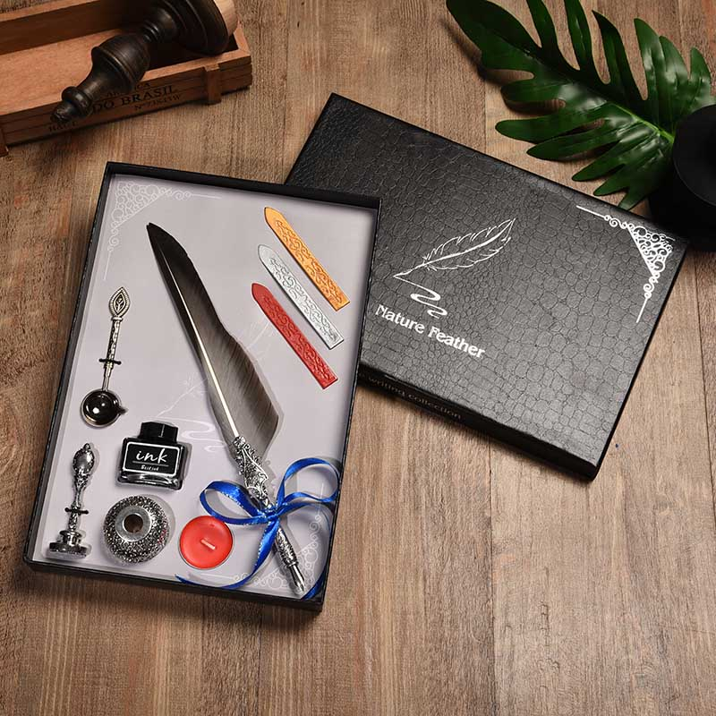 HOT SALE] BNB European Pointed Feather Office Pen Water