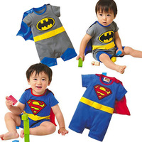 2015 Summer Style Baby Boy Jumpsuits Rompers 100 Cotton Supermen Baby Costumes Boy Cosplay Roupas Baby