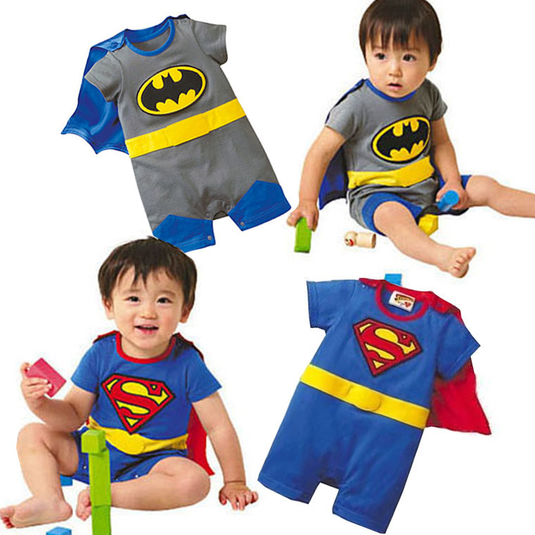 2015 summer style baby boy jumpsuits rompers 100% cotton supermen baby costumes  boy cosplay roupas baby layette clothing