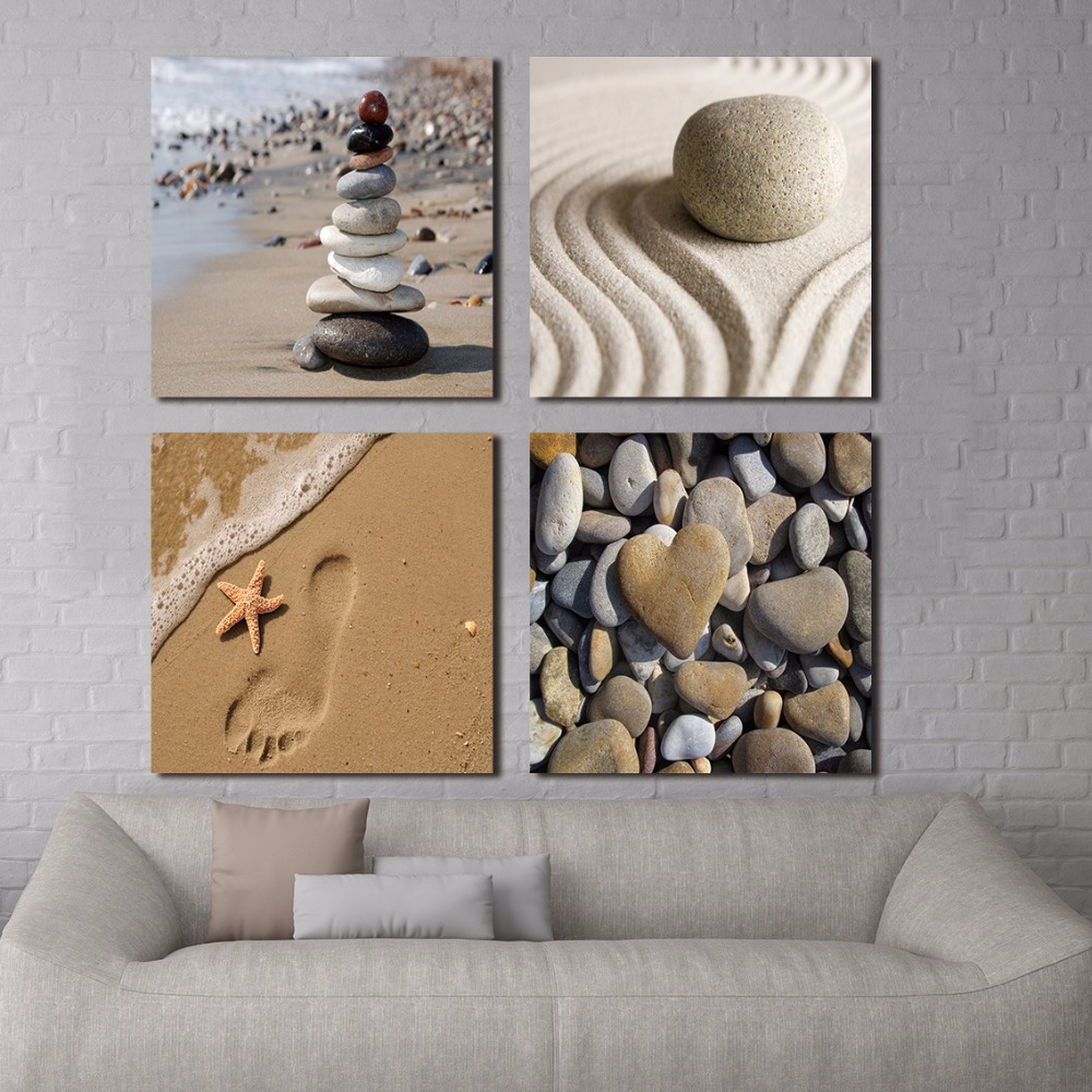 Romantic Beach Theme 4 Panels Modern Beach Ocean Canvas Prints Paintings on Canvas Wall Art for Home Decorations Wall Decor