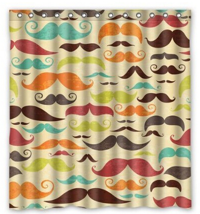 Custom Colorful Mustaches Waterproof Polyester Fabric Shower Curtain ...