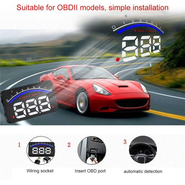 Universal Car Hud Head Up Display OBD 2 Digital Speedometer Overspeed Alarm Auto Windshield Projector Car Electronics