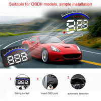 Universal Car Hud Head Up Display OBD 2 Digital Speedometer Overspeed Alarm Auto Windshield Projector Car Electronics