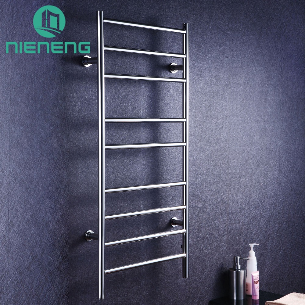 Nieneng Electric Heated Towel Rack 304 Stainless Steel Rails Holder Electric Heating Towel Racks Warmer Bathroom Accessories hotel decoration 304 stainless steel electric heating towel racks house furniture fitment appliance heating towel rack icd60048