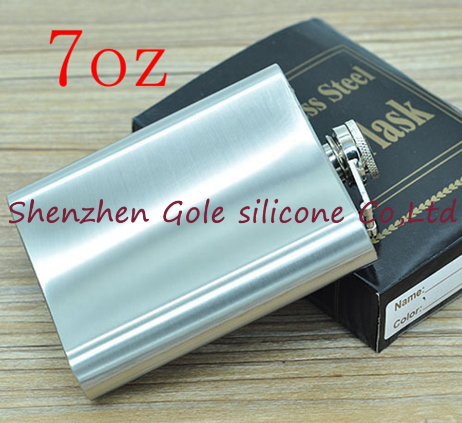 200pcs 7oz Stainless Steel Pocket Flask Russian Hip Flask Male Small Portable Mini Shot  ...