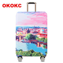 """OKOKC Cityscape Elastic Thicken Travel Suitcase Protective Luggage Cover Apply to 18""""-32"""" Case Suitcase,Travel Accessories"""