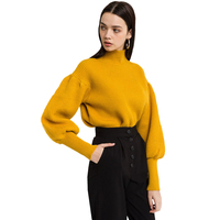 Yellow lattern sleeve high neck sweaters for women ladies vintage loose oversize balloon sleeve turtleneck knitted tops pullover