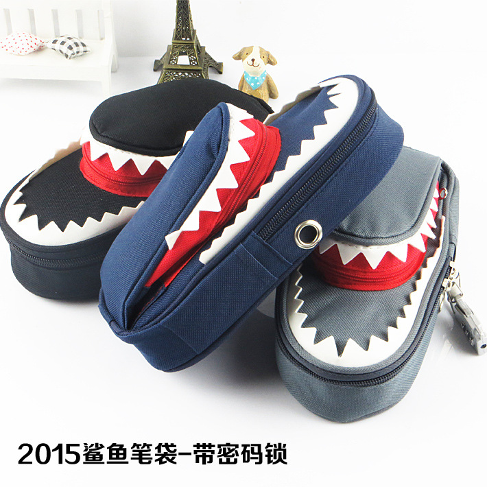 Boys  Personality Stationery Creative Shark Large Capacity Canvas School Pencil Case Pencil Bag Pen Case With Code Lock