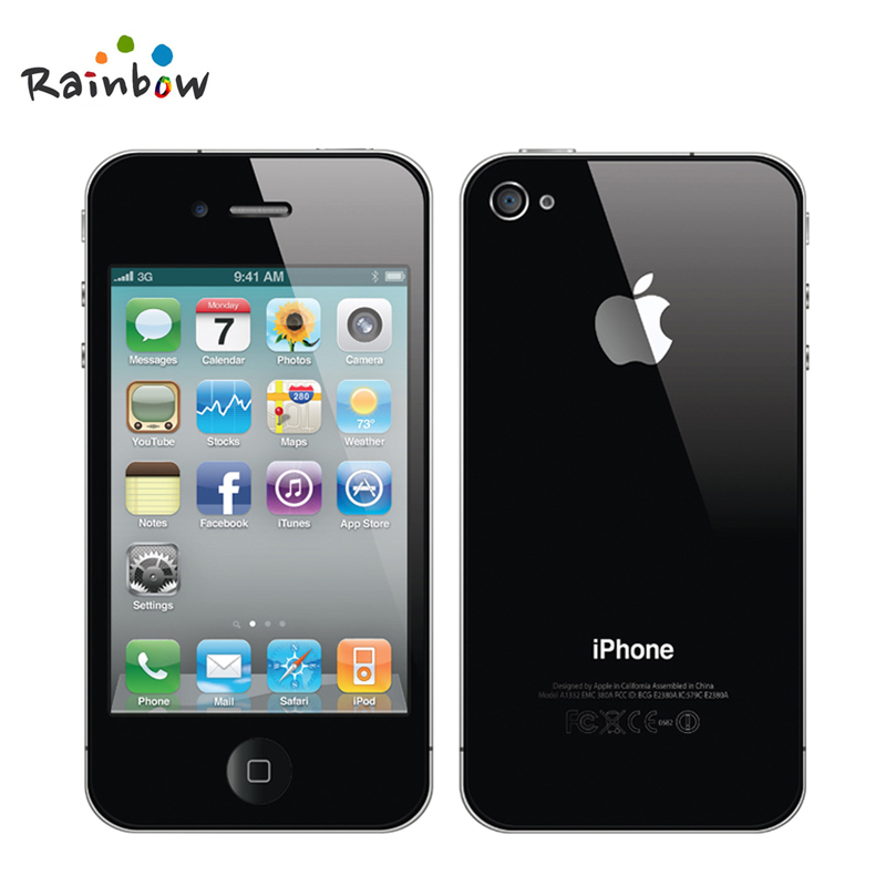 Original Apple iPhone 4 iOS 16G Or 32GB ROM 3.5 inches 5MP Camera WIFI GPS Cell Phone free shipping