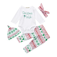 MUQGEW baby girl clothes newborn christmas Christmas Baby Girls Boys Letter Rompers Deers Pants 4Pcs Set Outfit Clothes