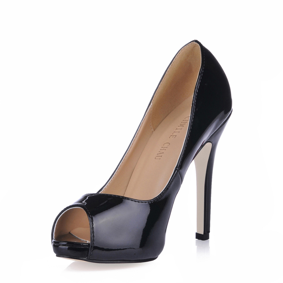 <font><b>Sexy</b></font> Patent Party Peep Toe Stiletto Women Pumps Escarpins <font><b>Chaussure</b></font> Femme <font><b>Talon</b></font> <font><b>Haut</b></font> Bout Ouvert Zapatillas de Tacon Alto YJT1 image