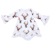 2017 New Hot Baby Girl Christmas Dress Baby Girl Kids Children Dress Kids Christmas Outfits Lace