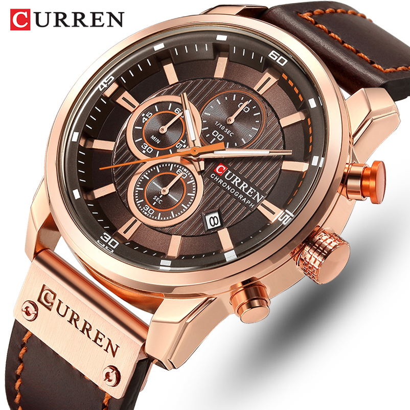 CURREN Brand Watch Men Leather Sports Watches Men's Army Military Quartz Wristwatch Chronograph Male Clock Relogio Masculino