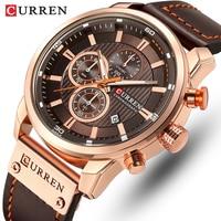 Marca CURREN-reloj deportivo de cuero para hombre, cronógrafo de pulsera, militar, de cuarzo, Masculino