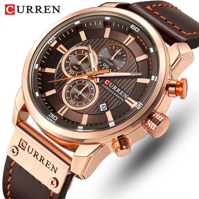 CURREN Brand Watch Men Leather Sports Watches Mens Army Military Quartz Wristwatch Chronograph Male Clock Relogio Masculino