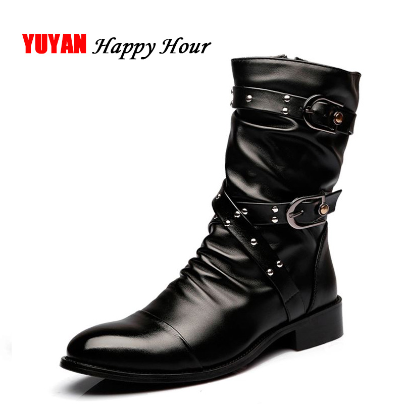 New 2019 Autumn Winter Boots Men Motorcycle Boots Genuine Leather High top Men s Boots Male