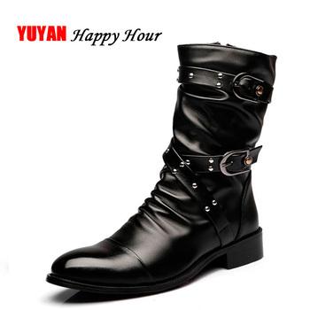 Nowy 2019 jesień buty zimowe mężczyźni buty motocyklowe prawdziwej skóry High Top męskie buty męskie marki obuwie K197 tanie i dobre opinie Dorosłych Kostki Stałe Zima Płaski (≤ 1cm) YUYAN HAPPY HOUR Skóra naturalna Dekoracja metalowa Skóra bydlęca Szpiczasty palec