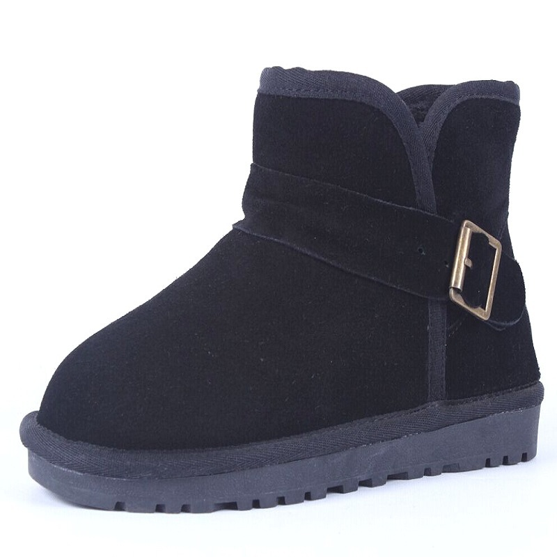 ФОТО Winter Shoes Woman Genuine Leather Femal Women Boots 1 Button Winter Boots Snow Boots Women's Shoes Ladies Boots