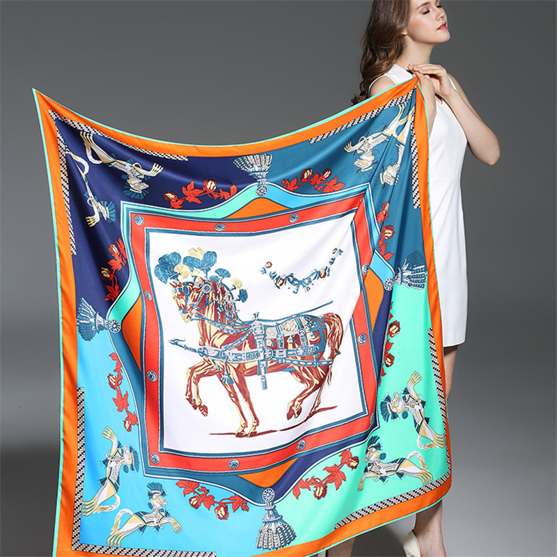 100% Twill Silk Women Scarf Luxury Märke Europe Foulard French Horses Skriv ut Kvadratiska Scarves Mode Sjalar Wraps 130 * 130cm