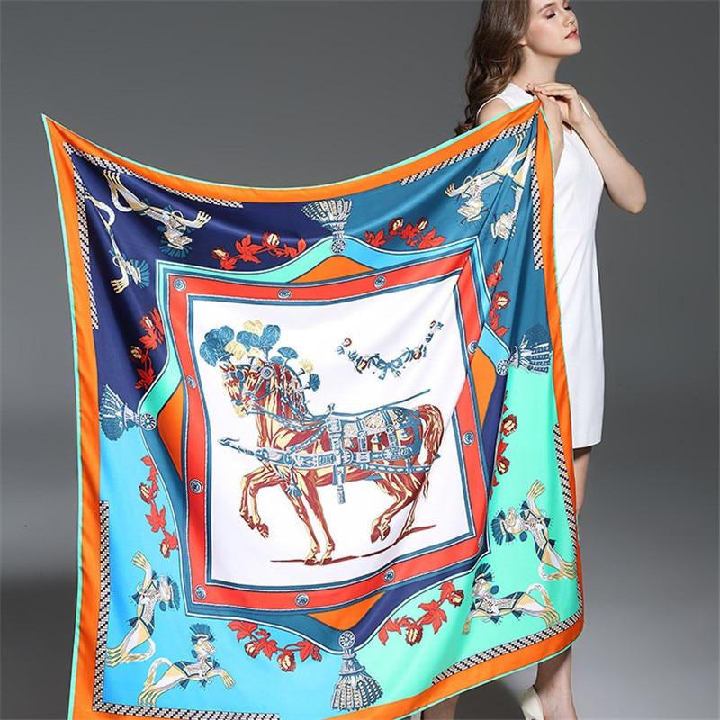 100% sarga de seda bufanda de las mujeres de la marca de lujo europa foulard caballos franceses imprimir bufandas cuadradas moda mantones envuelve 130 * 130 cm
