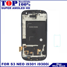 For Samsung Galaxy SIII S3 Neo i9301 i9300i i9308i i9301i LCD Display Screen+Touch Glass+Frame Assembly Black/White/Dark Blue