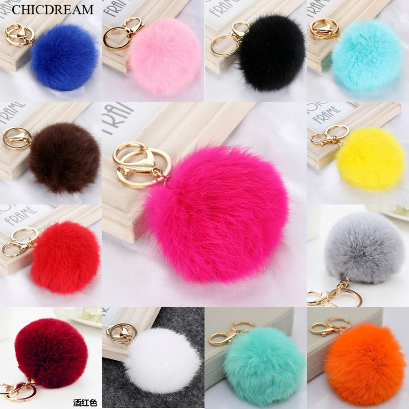 Multi Color Pink Rabbit Fur Ball Keychain Bag Plush Car Key Holder Pendant Key Chain Rings For Women 2016 New Fashion Jewelry