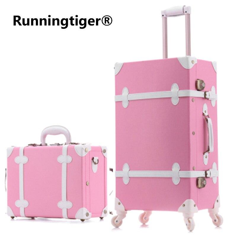 20''22''24''26'' Pu Leder Vintage Roll Gepäck Trolley Reisetasche Retro Koffer Mit Spinner Räder Frauen Business Case