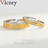 Vicney Original wind blowing wheat wave couple ring s925 sterling silver men and women simple personality design gift Jewelry