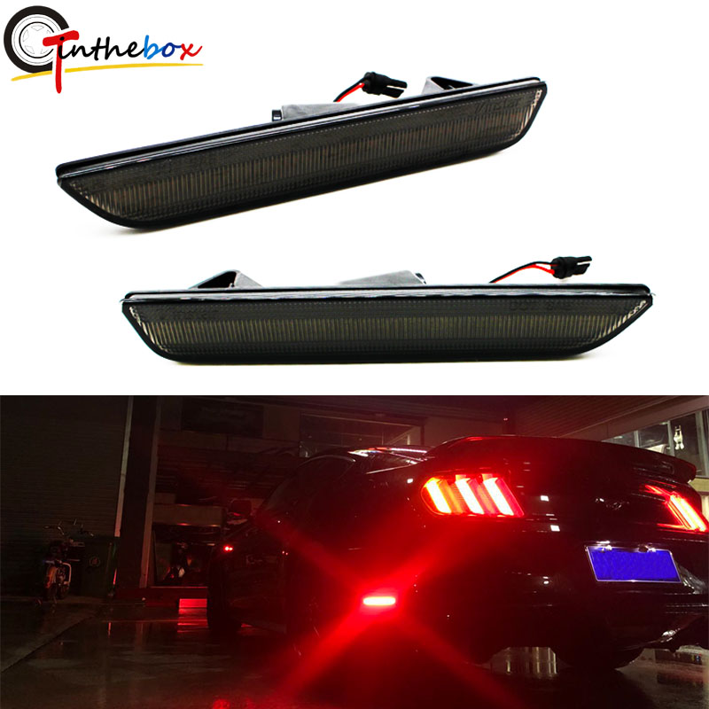 2010-2014 Ford Mustang Front /& Rear Smoke LED Side Marker Lights Bumper Lamps