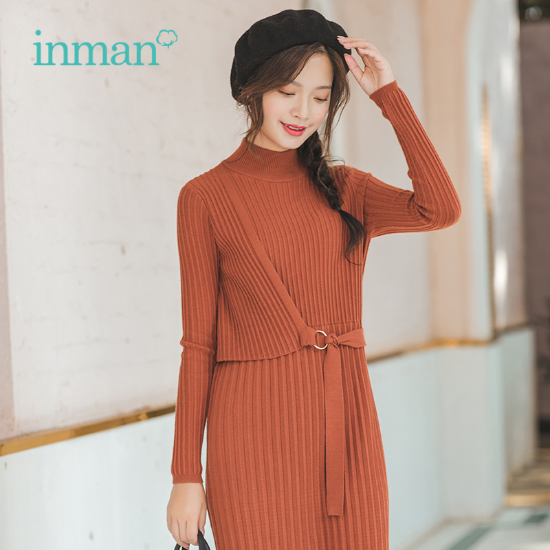 INMAN Spring Autumn High Neck Stripped Show Fitness Knee Length Long Sleeve Women Knitwear Dress
