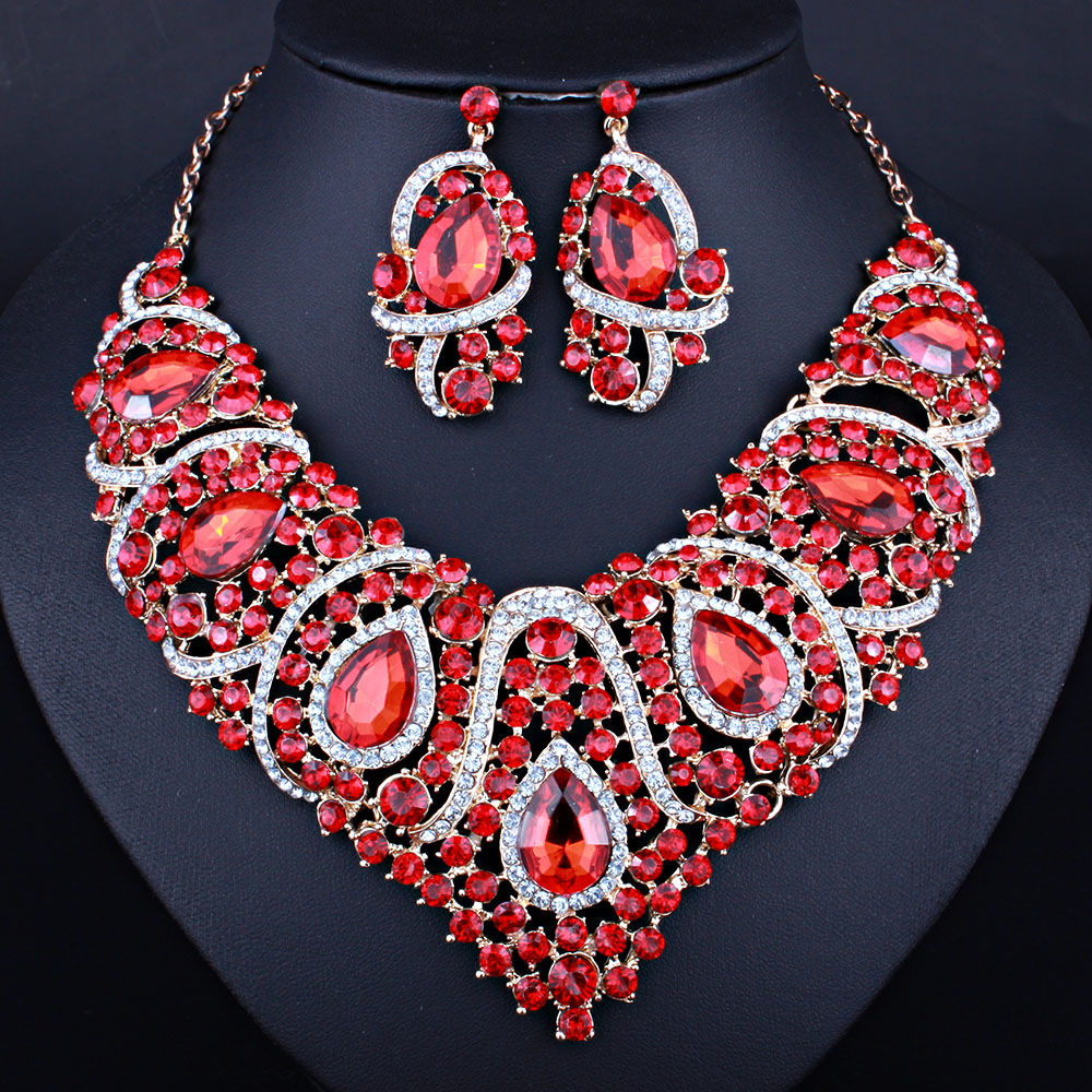 Latest African Beads Resin Crystal Necklace And Earrings Six Colors Bridal Jewelry Sets Free Shipping In From Accessories On