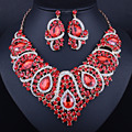 latest african beads for wedding gold plated red jewelry sets necklace and earrings six colors free shipping