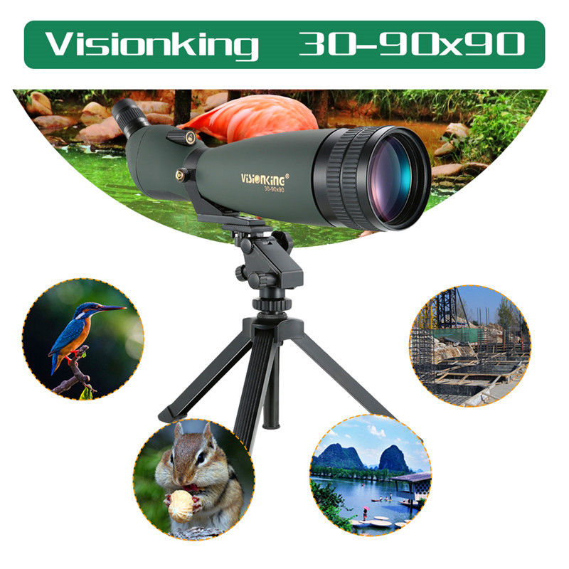 Visionking 30-90x90 Zoom Spotting Scope Waterproof For Huting Bird Watching Zoom Free shipping visionking sw 7x28 binocular for birdwatching with 100