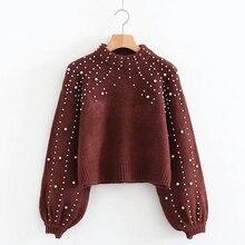 Women Turtleneck Sweaters Pearl Beading Sweater New Autumn Winter Warm Lantern Sleeve Women Jumper Pull Knitted Pullovers