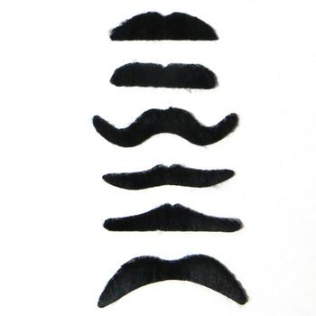 6 sztuk zestaw czarny kostium Party Halloween fałszywe wąsy wąsy śmieszne sztuczna broda wąs tanie i dobre opinie PlumHOME CN (pochodzenie) Halloween Horror Props